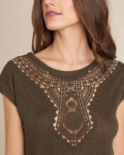 Khakifarbenes Ajour-T-Shirt mit Spitze Elise (1) - 1-2-3