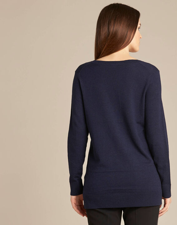 NewOrleans long navy blue sweater in a wool and silk blend (4) - 1-2-3