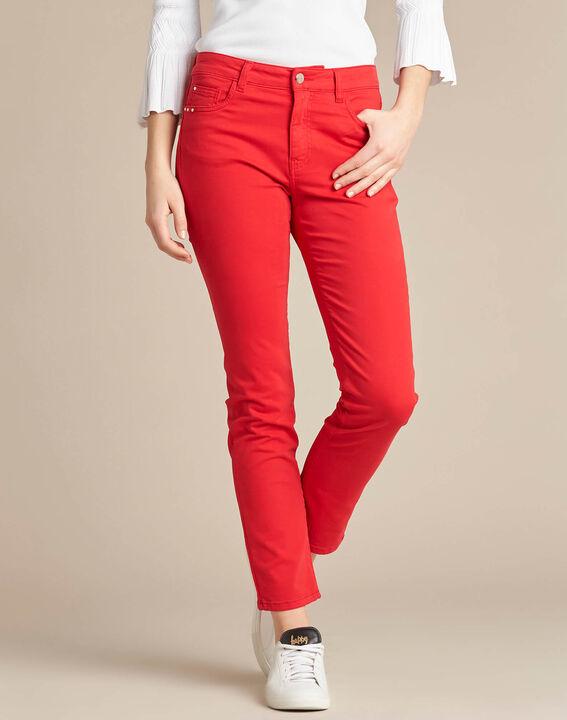 Rote 7/8 Slim-Fit-Jeans normale Leibhöhe Vendôme (3) - 1-2-3