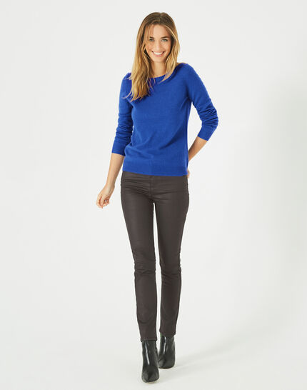 Petunia royal blue, cashmere sweater with round neck (4) - 1-2-3