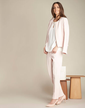 Valero tailored, pleated trousers in nude salmon.