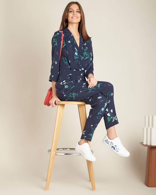 Pepite navy playsuit with cross-over neckline and floral print (1) - 1-2-3