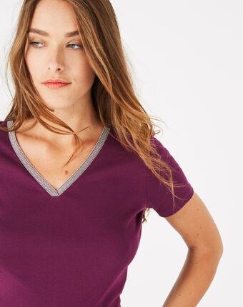Tee-shirt cassis col strassé neck aubergine.