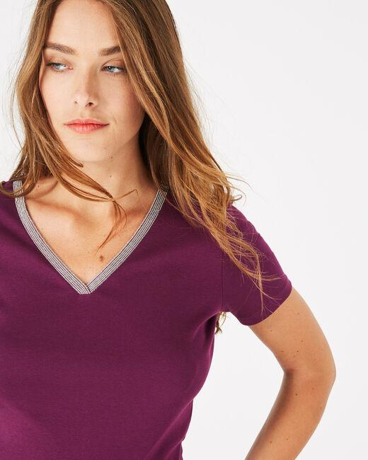 Tee-shirt cassis col strassé Neck (2) - 1-2-3