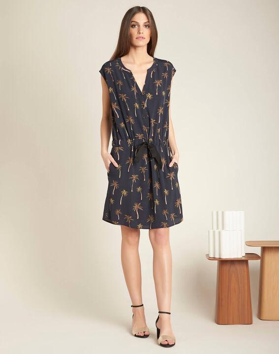Palmeraie black printed dress with granddad neckline (2) - 1-2-3