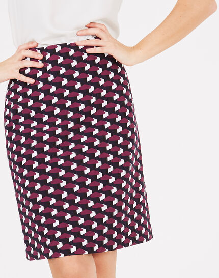 Fantastic navy blue straight-cut tailored printed skirt (2) - 1-2-3