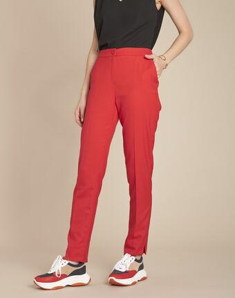 Pantalon rouge cigarette plis emile grenade.