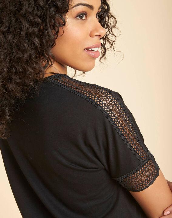 Estelle black guipure T-shirt with V-neck PhotoZ | 1-2-3