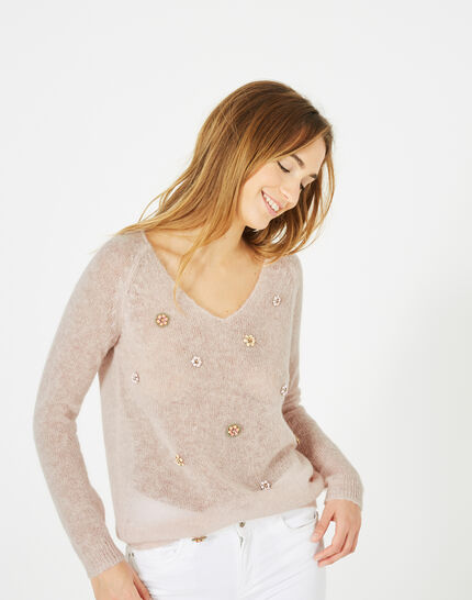 Pensée pale pink sweater with embroidered flowers (3) - 1-2-3
