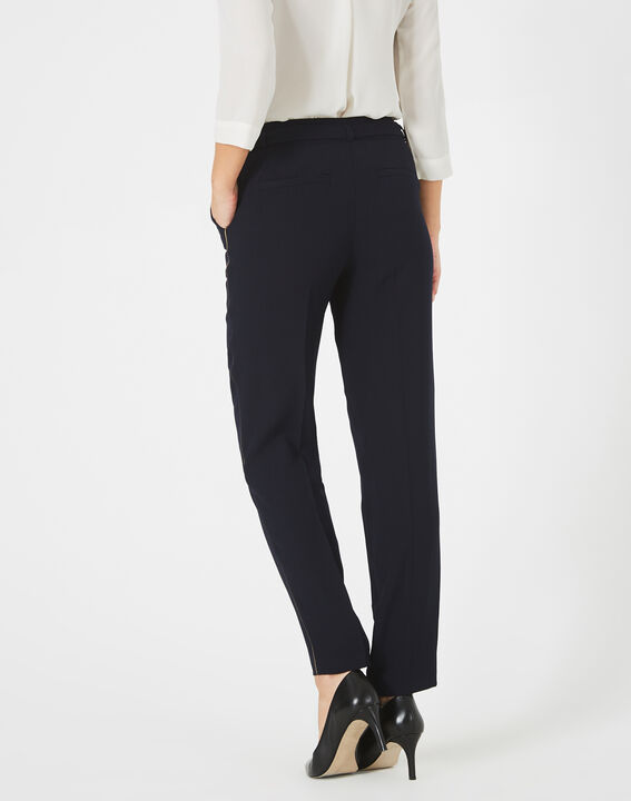 Pantalon bleu marine en crêpe Karoline (5) - 1-2-3