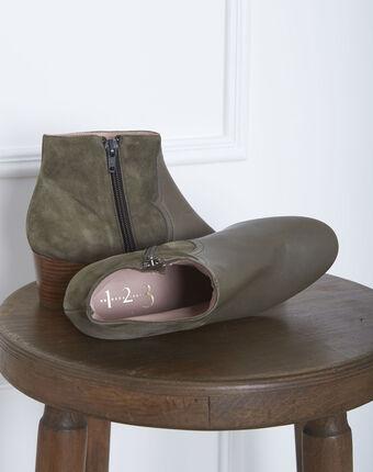 Khakifarbene absatz-stiefeletten im materialmix kendal kaki.