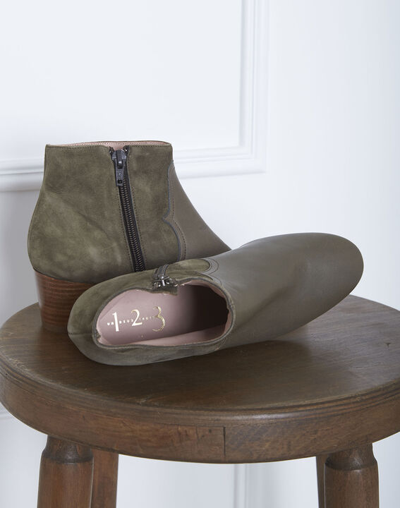 Kendal dual-fabric heeled ankle boots in khaki (2) - 1-2-3