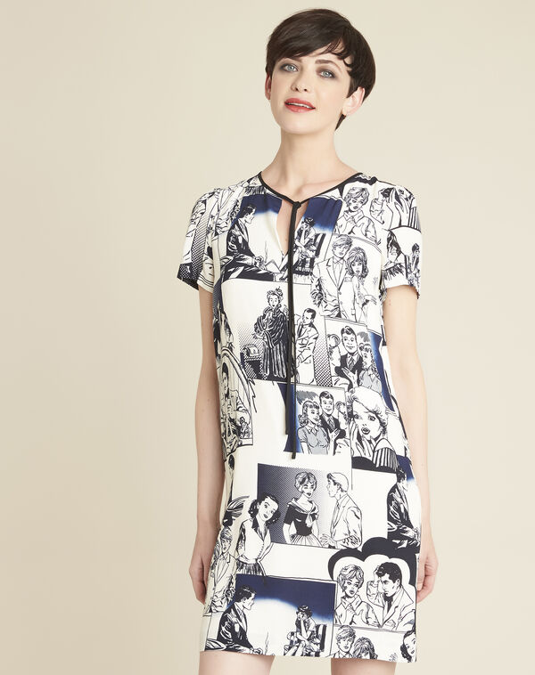 Diking navy blue printed dress (1) - 1-2-3