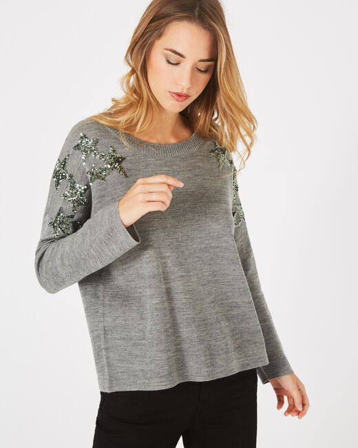 Paillette marl grey wool-blend sweater with sequins (2) - 1-2-3