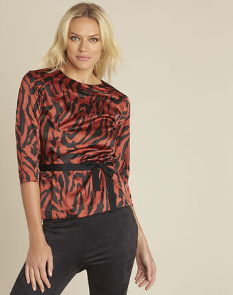 Rode blouse met zebraprint camomille corail.