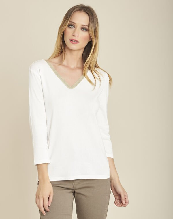 Galvani ecru T-shirt with shiny neckline and 3/4 length sleeves (1) - 1-2-3