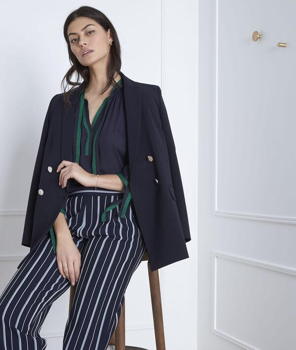 Marineblauwe blouse met contrasterende details Vicky PhotoZ | 1-2-3