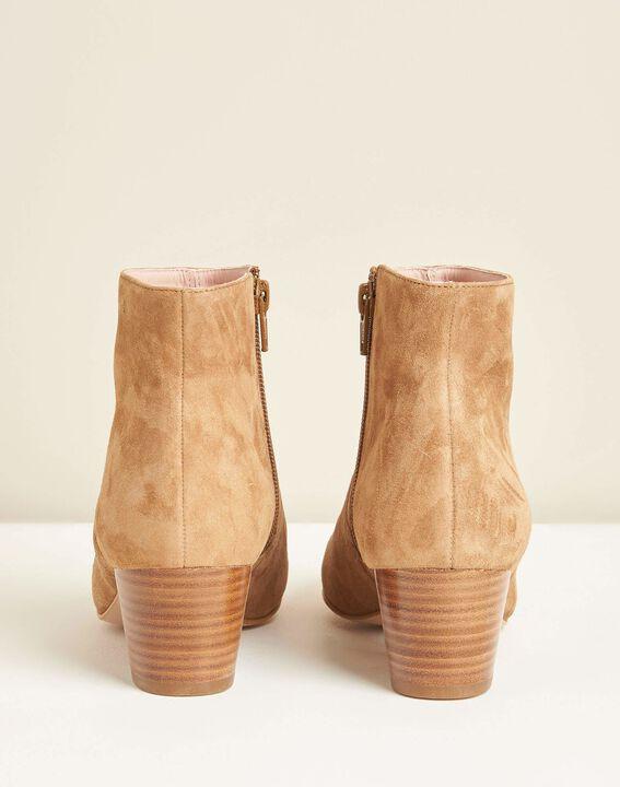 Camel enkellaarsjes met hak uit twee materialen Kendal (3) - Maison 123