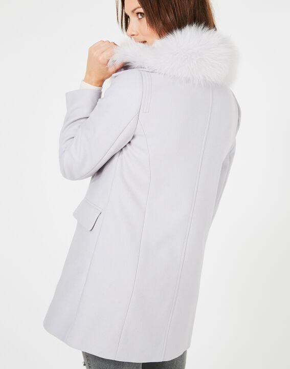 Perlengrauer Mantel aus Woll-Mix mit Pelzkragen Oryanne (5) - 1-2-3