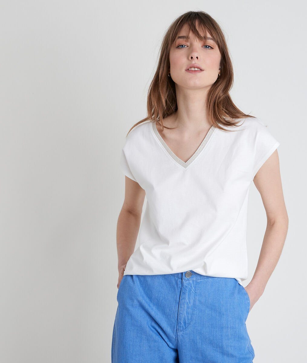 Tee-shirt en coton biologique écru col V Ibis PhotoZ | 1-2-3