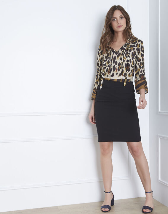 Fancy black straight-cut skirt with lateral band in microfibre PhotoZ | 1-2-3