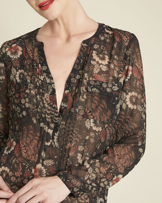 Roma black floral printed blouse (1) - 1-2-3