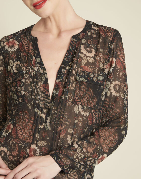 Roma black floral printed blouse (2) - 1-2-3