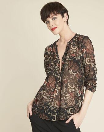 Schwarze bluse mit blumenprint roma schwarz.