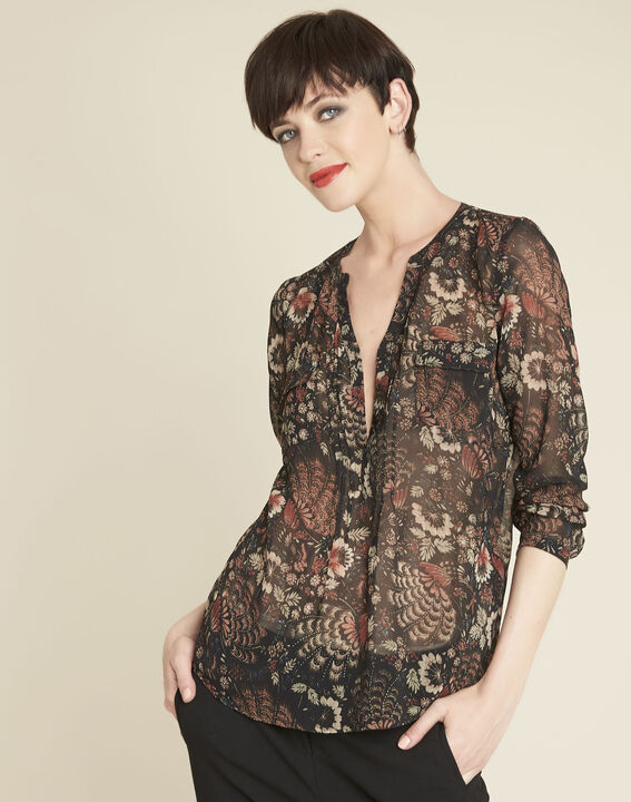 Roma black floral printed blouse PhotoZ | 1-2-3