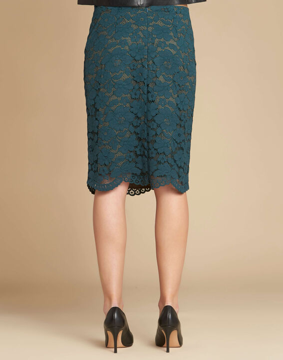 Lantana forest green skirt in lace with side strip (4) - 1-2-3