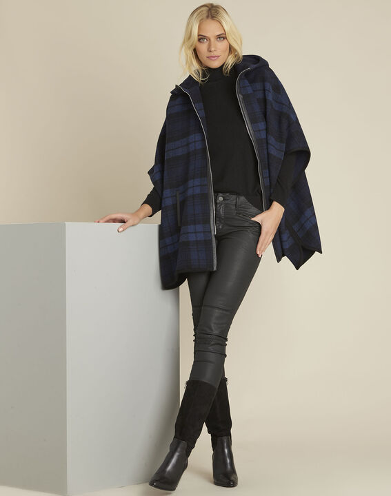 Perrine navy cape with tartan motif (2) - 1-2-3