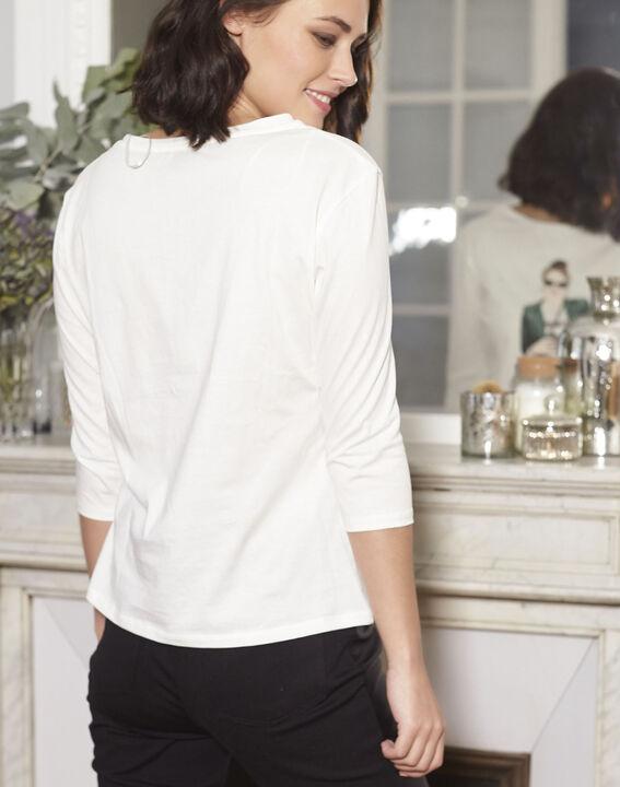 Gloria ecru printed T-shirt (4) - 1-2-3