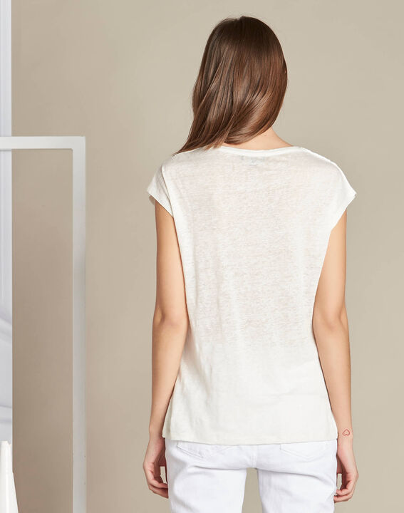 Elise ecru linen T-shirt with lace on the neckline (4) - 1-2-3