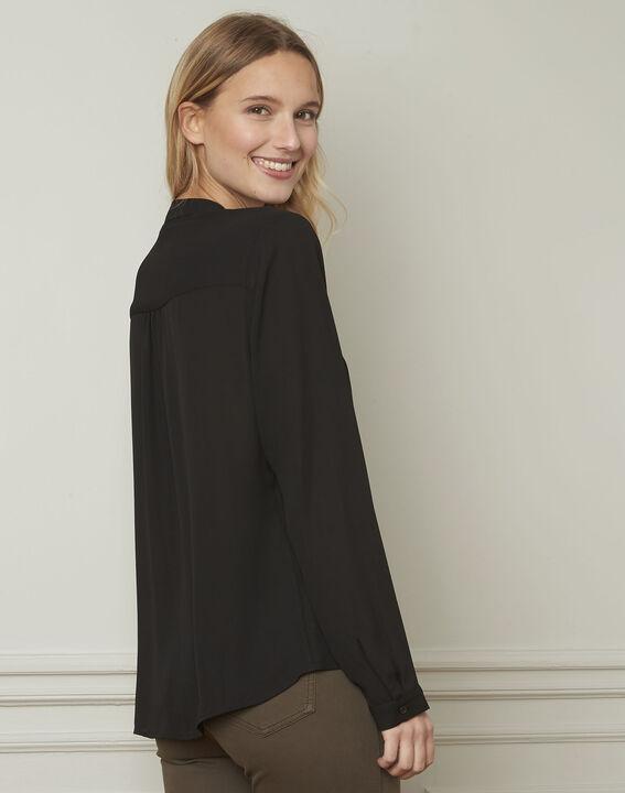 Schwarze Hemdbluse mit Schleife zum Binden am Ausschnitt Valence (3) - Maison 123
