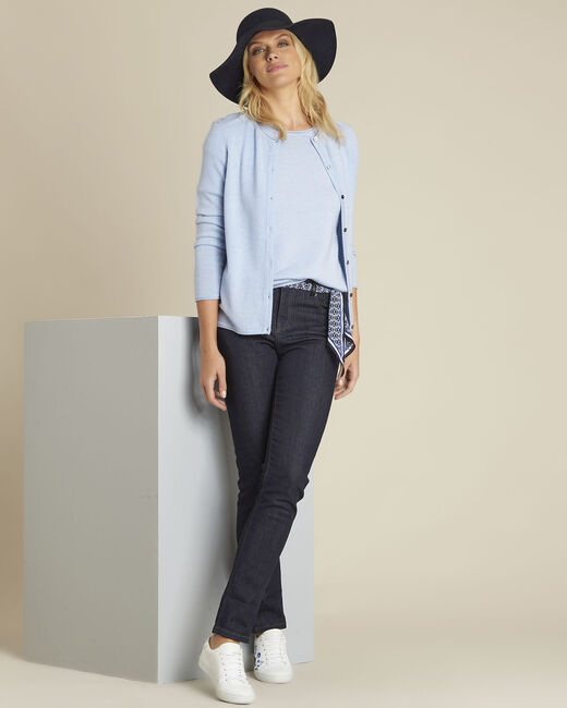 Pull bleu azur manches courtes laine cachemire Ballet (2) - 1-2-3
