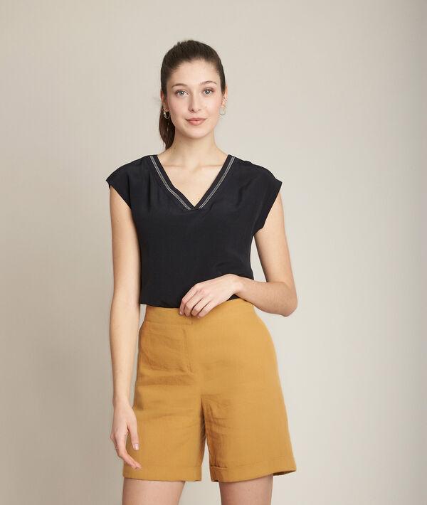Tee-shirt noir encolure fantaisie Remix PhotoZ | 1-2-3