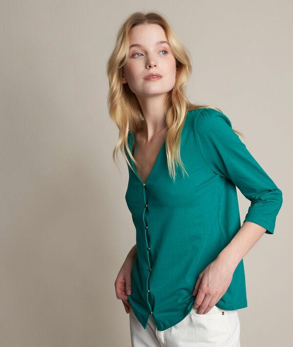 Tee-shirt boutonné vert Rosace PhotoZ | 1-2-3