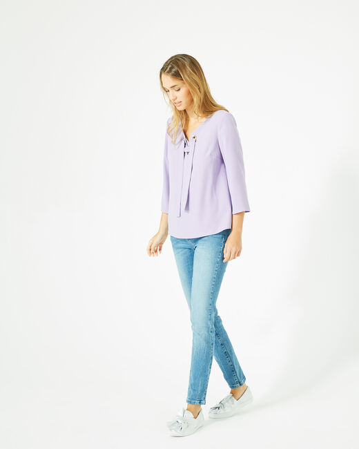 Blouse lilas col V Domino (1) - 1-2-3