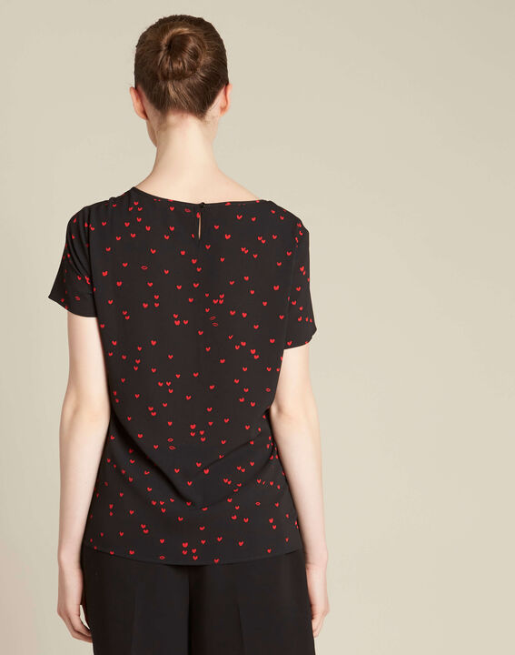 Go black heart printed top with lace (4) - 1-2-3