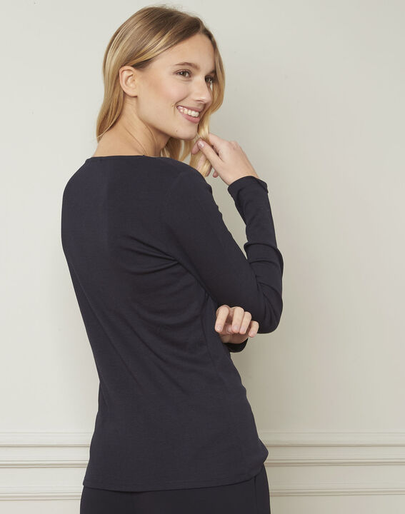 T-shirt marine encolure V lurex Etincelante (3) - Maison 123