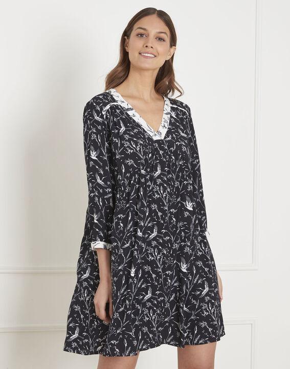 Robe noire imprimé fleuri Loelie PhotoZ   1-2-3