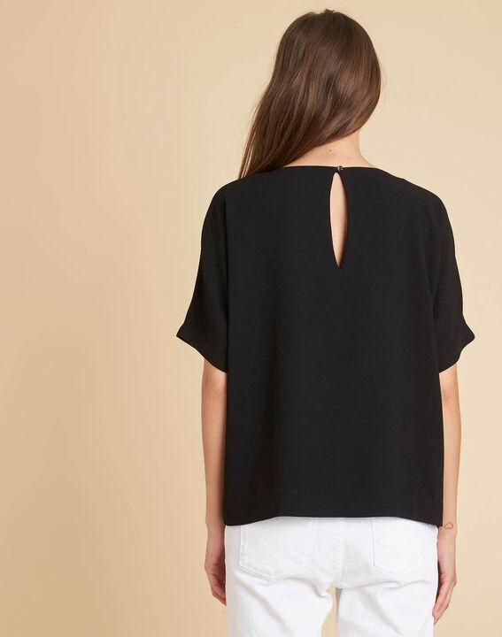 Schwarzes T-Shirt mit Perlentasche Gwen (3) - 1-2-3