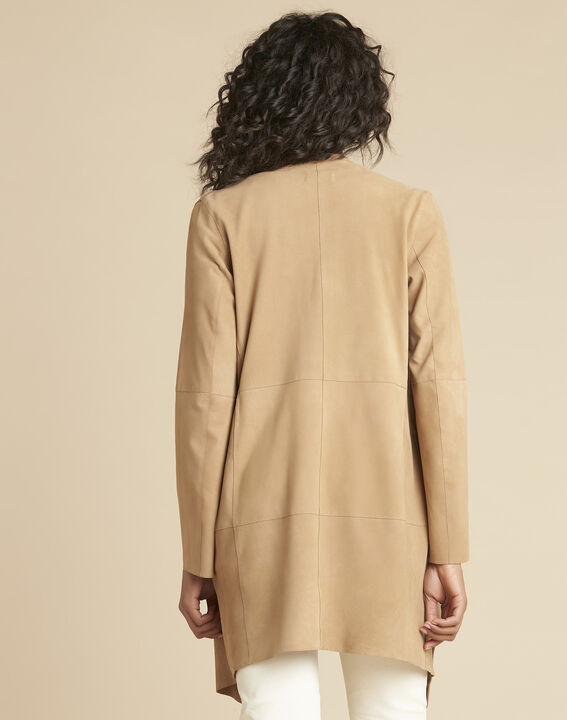 Veste beige waterfall 3/4 suédine Gaston (4) - 1-2-3