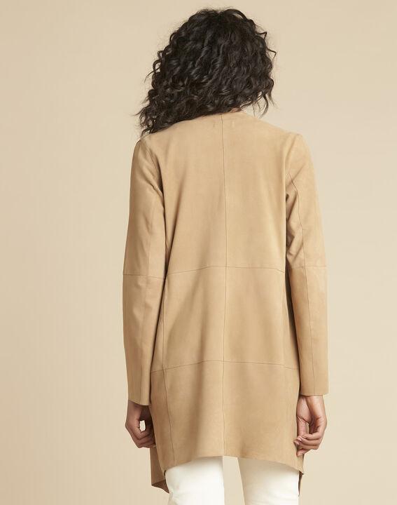 Gaston faux-suede 3/4 length beige waterfall jacket (4) - 1-2-3