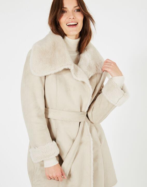 Manteau ficelle mi-long en peau lainée Lina PhotoZ   1-2-3