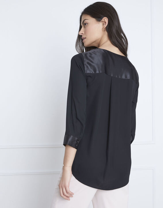 Zwarte blouse met details met satijnen effect Valeria (4) - Maison 123