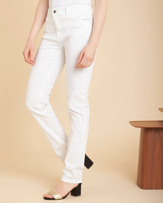 Valley regular fit white slim-cut coated jeans (2) - 1-2-3
