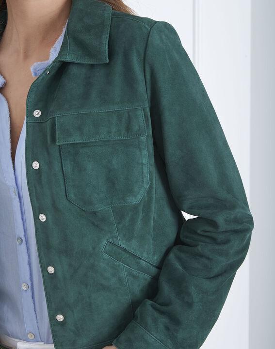 Veste verte poches plaquées cuir velours Frisbee (3) - Maison 123