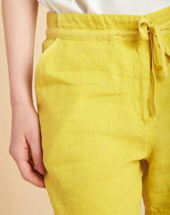 Citron yellow linen shorts lemon.