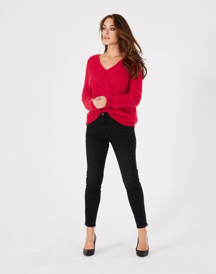 Roter Pullover mit V-Ausschnitt aus Mohair und Alpaka Paprika (1) - 1-2-3